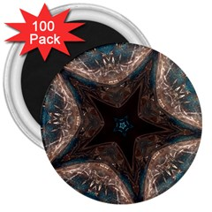 Kaleidoscopic Design Elegant Star Brown Turquoise 3  Magnets (100 Pack) by yoursparklingshop