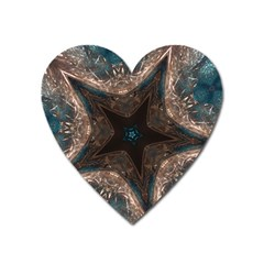 Kaleidoscopic Design Elegant Star Brown Turquoise Heart Magnet by yoursparklingshop