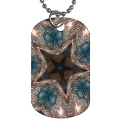 Kaleidoscopic Design Elegant Star Brown Turquoise Dog Tag (one Side) by yoursparklingshop