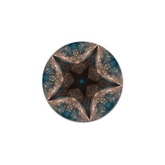 Kaleidoscopic Design Elegant Star Brown Turquoise Golf Ball Marker (10 Pack) by yoursparklingshop