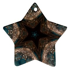 Kaleidoscopic Design Elegant Star Brown Turquoise Star Ornament (two Sides) by yoursparklingshop