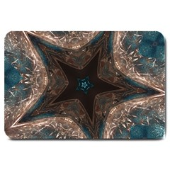 Kaleidoscopic Design Elegant Star Brown Turquoise Large Doormat  by yoursparklingshop