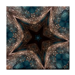 Kaleidoscopic Design Elegant Star Brown Turquoise Face Towel by yoursparklingshop