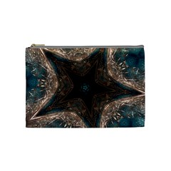 Kaleidoscopic Design Elegant Star Brown Turquoise Cosmetic Bag (medium)  by yoursparklingshop