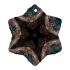 Kaleidoscopic Design Elegant Star Brown Turquoise Snowflake Ornament (two Sides) by yoursparklingshop
