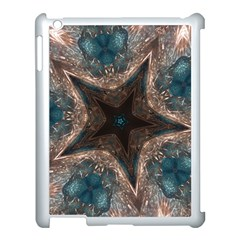 Kaleidoscopic Design Elegant Star Brown Turquoise Apple Ipad 3/4 Case (white) by yoursparklingshop
