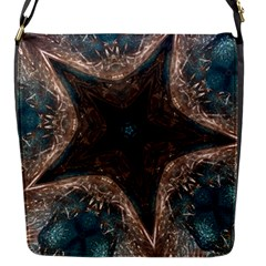 Kaleidoscopic Design Elegant Star Brown Turquoise Flap Messenger Bag (s) by yoursparklingshop