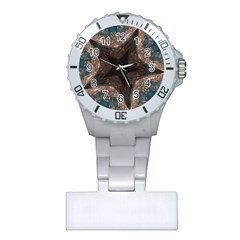 Kaleidoscopic Design Elegant Star Brown Turquoise Plastic Nurses Watch by yoursparklingshop