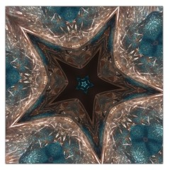 Kaleidoscopic Design Elegant Star Brown Turquoise Large Satin Scarf (square) by yoursparklingshop