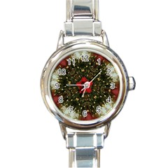 Christmas Wreath Stars Green Red Elegant Round Italian Charm Watch by yoursparklingshop