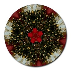 Christmas Wreath Stars Green Red Elegant Round Mousepads by yoursparklingshop