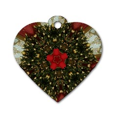 Christmas Wreath Stars Green Red Elegant Dog Tag Heart (two Sides) by yoursparklingshop