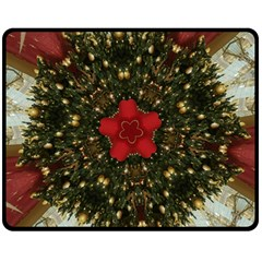 Christmas Wreath Stars Green Red Elegant Fleece Blanket (medium)  by yoursparklingshop