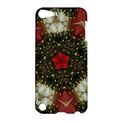 Christmas Wreath Stars Green Red Elegant Apple Ipod Touch 5 Hardshell Case by yoursparklingshop