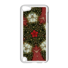 Christmas Wreath Stars Green Red Elegant Apple Ipod Touch 5 Case (white)