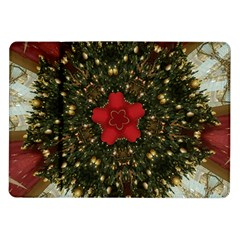 Christmas Wreath Stars Green Red Elegant Samsung Galaxy Tab 10 1  P7500 Flip Case by yoursparklingshop
