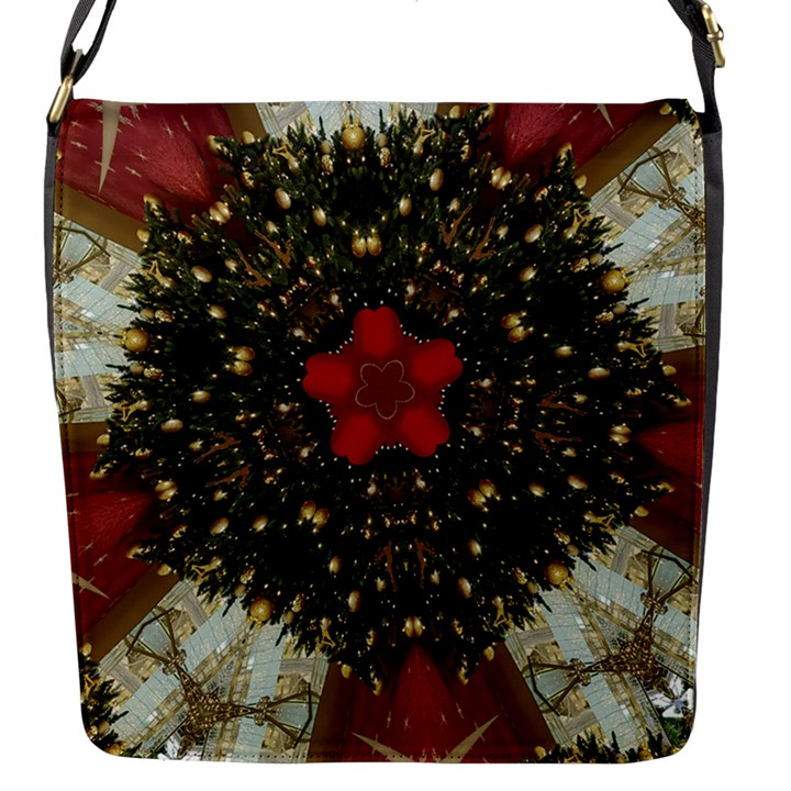 Christmas Wreath Stars Green Red Elegant Flap Messenger Bag (S)