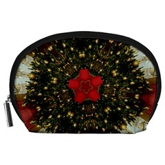 Christmas Wreath Stars Green Red Elegant Accessory Pouches (large)  by yoursparklingshop