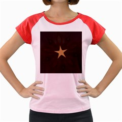 Rustic Elegant Brown Christmas Star Design Women s Cap Sleeve T-shirt by yoursparklingshop