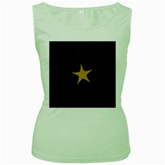 Rustic Elegant Brown Christmas Star Design Women s Green Tank Top by yoursparklingshop