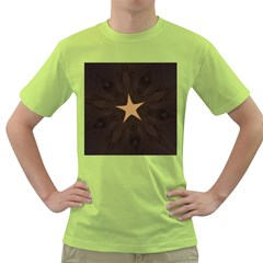 Rustic Elegant Brown Christmas Star Design Green T Shirt by yoursparklingshop