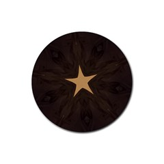 Rustic Elegant Brown Christmas Star Design Rubber Coaster (round)  by yoursparklingshop