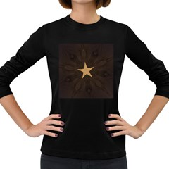 Rustic Elegant Brown Christmas Star Design Women s Long Sleeve Dark T Shirts by yoursparklingshop