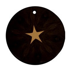 Rustic Elegant Brown Christmas Star Design Round Ornament (two Sides) by yoursparklingshop