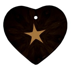 Rustic Elegant Brown Christmas Star Design Heart Ornament (two Sides) by yoursparklingshop