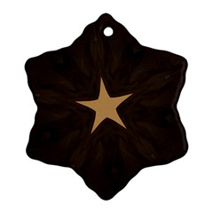 Rustic Elegant Brown Christmas Star Design Snowflake Ornament (two Sides) by yoursparklingshop