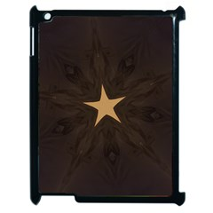 Rustic Elegant Brown Christmas Star Design Apple Ipad 2 Case (black) by yoursparklingshop