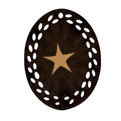 Rustic Elegant Brown Christmas Star Design Oval Filigree Ornament (two Sides) by yoursparklingshop