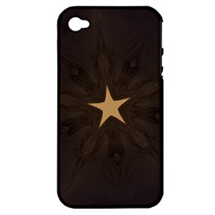 Rustic Elegant Brown Christmas Star Design Apple Iphone 4/4s Hardshell Case (pc+silicone) by yoursparklingshop