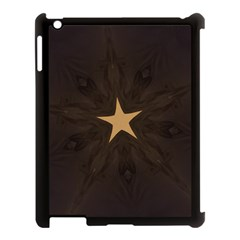 Rustic Elegant Brown Christmas Star Design Apple Ipad 3/4 Case (black) by yoursparklingshop