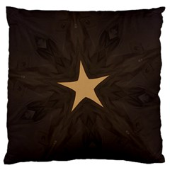 Rustic Elegant Brown Christmas Star Design Large Flano Cushion Case (one Side) by yoursparklingshop