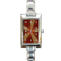 Red Star Ribbon Elegant Kaleidoscopic Design Rectangle Italian Charm Watch by yoursparklingshop