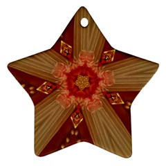 Red Star Ribbon Elegant Kaleidoscopic Design Ornament (star) by yoursparklingshop