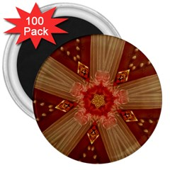 Red Star Ribbon Elegant Kaleidoscopic Design 3  Magnets (100 Pack) by yoursparklingshop