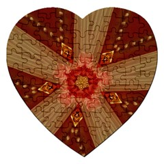 Red Star Ribbon Elegant Kaleidoscopic Design Jigsaw Puzzle (heart) by yoursparklingshop