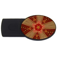 Red Star Ribbon Elegant Kaleidoscopic Design Usb Flash Drive Oval (4 Gb) by yoursparklingshop
