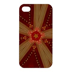 Red Star Ribbon Elegant Kaleidoscopic Design Apple Iphone 4/4s Hardshell Case by yoursparklingshop