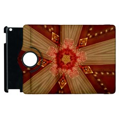 Red Star Ribbon Elegant Kaleidoscopic Design Apple Ipad 2 Flip 360 Case by yoursparklingshop