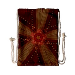 Red Star Ribbon Elegant Kaleidoscopic Design Drawstring Bag (small) by yoursparklingshop
