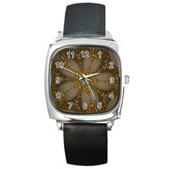 Golden Flower Star Floral Kaleidoscopic Design Square Metal Watch by yoursparklingshop