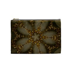 Golden Flower Star Floral Kaleidoscopic Design Cosmetic Bag (medium)  by yoursparklingshop