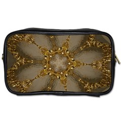 Golden Flower Star Floral Kaleidoscopic Design Toiletries Bags 2 Side by yoursparklingshop