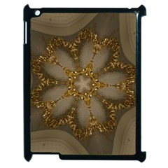 Golden Flower Star Floral Kaleidoscopic Design Apple Ipad 2 Case (black) by yoursparklingshop