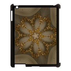 Golden Flower Star Floral Kaleidoscopic Design Apple Ipad 3/4 Case (black) by yoursparklingshop