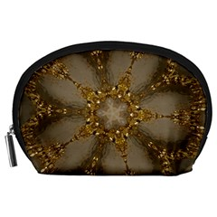 Golden Flower Star Floral Kaleidoscopic Design Accessory Pouches (large)  by yoursparklingshop