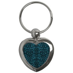 Damask2 Black Marble & Teal Leather Key Chains (heart)  by trendistuff